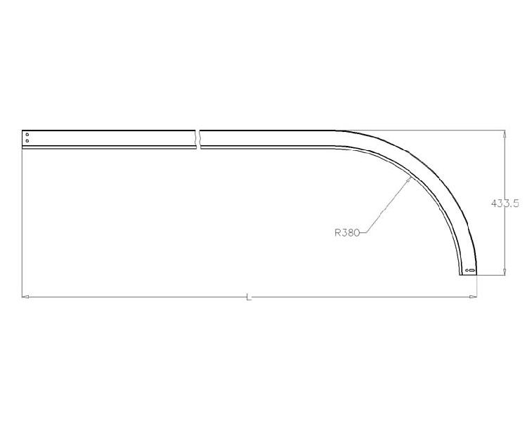 Rail 2 courbe avec rayon de 380 3 longueur de 1500 la Porte coulissante courbe